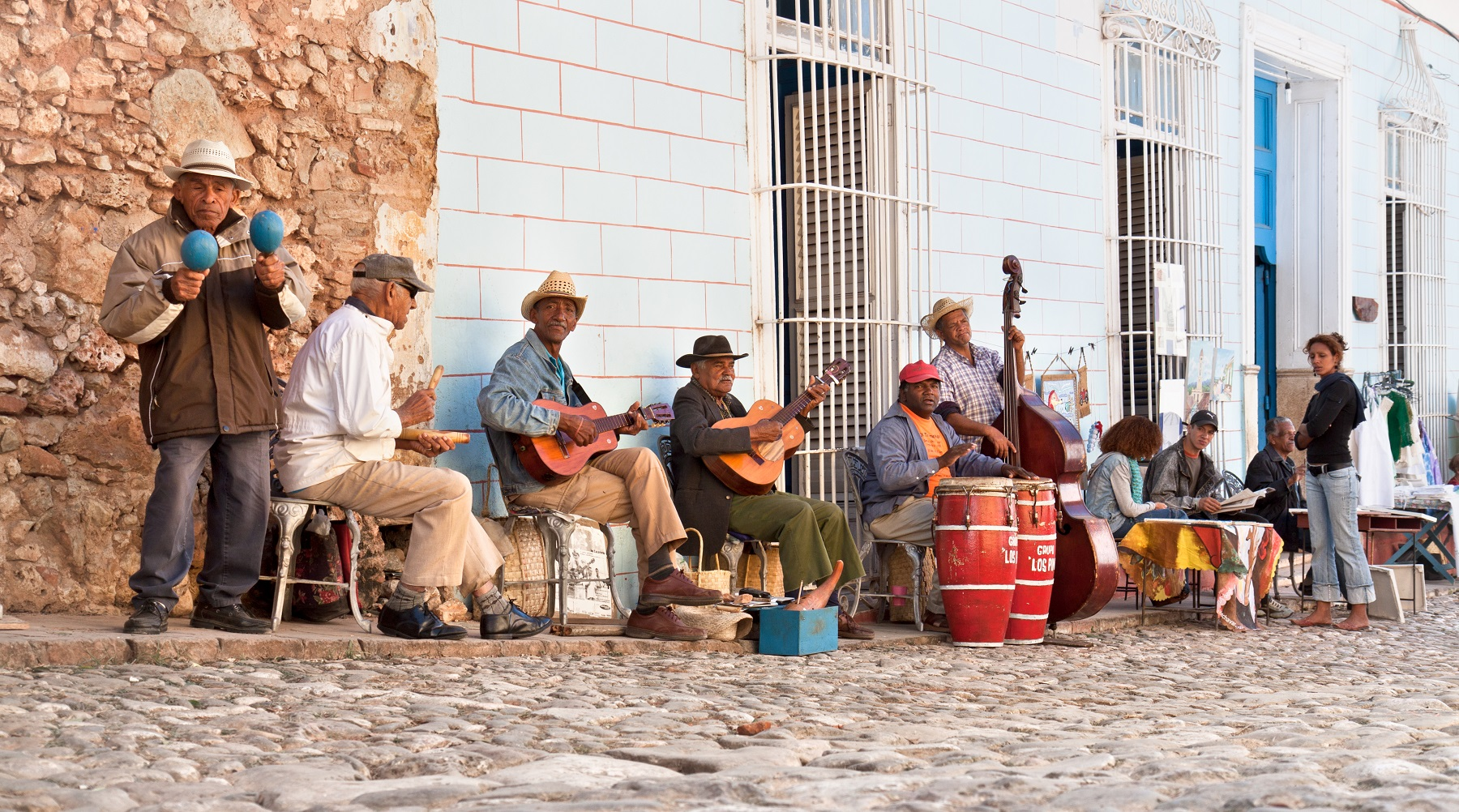 TRINIDAD, CUBA -12 JANUARY:Traditional musicians playing in the streets of Trinidad on January 12. 2010.Cuba.Trinidad declared by UNESCO World Heritage Site in 1988.
